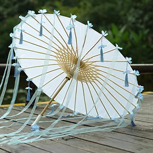 Viner Chinese paraplu lint zijden paraplu Hanfu paraplu prop shoot oud kostuum paraguas prinses parasol, blauwe bloem franje
