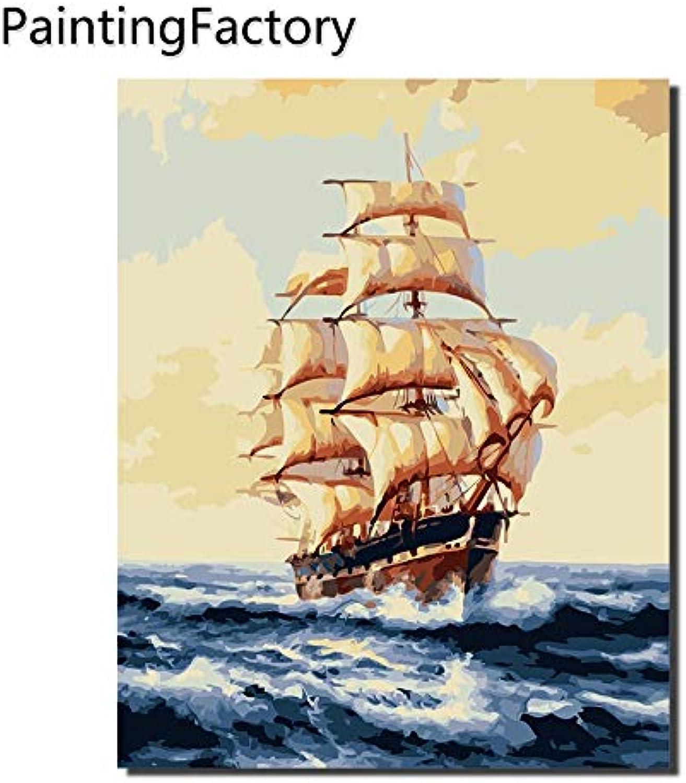 KYKDY PaintingFactory SegelStiefel Malen nach Zahlen Zeichnen Farbe Zahlen Kits Malen auf Leinwand für Hauptwand-Kunst-Bild, 40X50CM KEIN RAHMEN B07PNC8ZJ5 | Kostengünstig