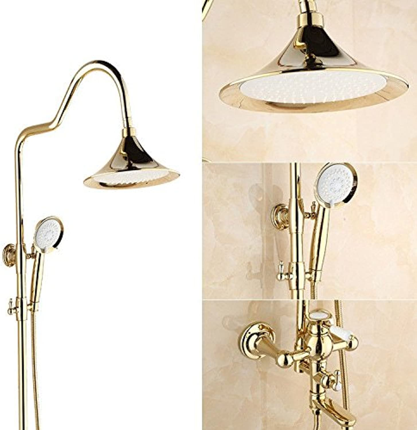 Hlluya Professional Sink Mixer Tap Kitchen Faucet Shower Kit large elbow gold Lo-copper shower hot cold water faucet handheld can lift the bath