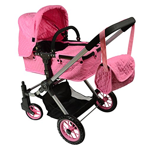 The New York Doll Collection A201 Pink Convertible Doll Stroller with Swiveling Wheels & Free Carriage Bag