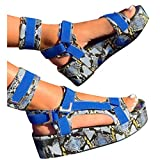 Aniywn Platform Sandals for Women,Open Toe Gladiator Ankel Strap Sexy Snakeskin Platform Sandals Comfortable Flats Shoes Blue