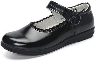 MINGAZ Girls Black Leather Shoes, Big Children Soft Bottom Leather Princess Shoes, Children's Single Shoes White Dance Student Performance Shoes (Color : Black, Size : 34EU)