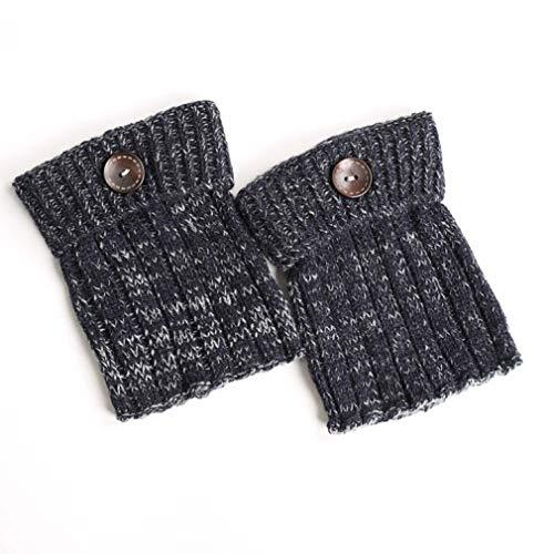TOBEEY Scaldamuscoli da donna in maglia invernale con bottone retrò Copriscarpe all'uncinetto Calzini Toppers Polsini