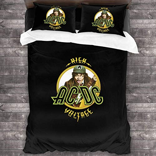 YYdg ACDC High Voltage 3-Piece Bedding Set Duvet Cover Quilt Covers 86'x70', Twin Throw Pillow Cases Cushion Sheets 20'x30'