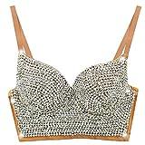 Sexy Strass Brillante Diamante Bustier Club Partito Reggiseno Cropped Top Vest - Khaki