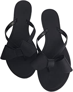 Mtzyoa Women Stud Bow Flip-Flops Sandals Beach Flat Rivets Rain Jelly Shoes