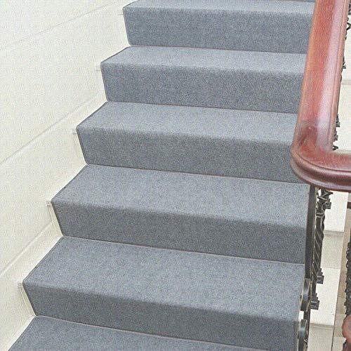 XOCKYE 15pcs Tappeto Adesivo Stair Gradini Zerbino Non-Slip Copertura di Protezione Passo Tappetini tappeti per Scale Interne a chiocciola@Grigio_65x24cm