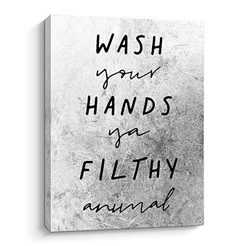 Funny Bathroom Wall Decor - Wash Your Hands Ya Filthy Animal - 12 X15 Inch Farmhouse Decor Bathroom Rules Signs Wall Art