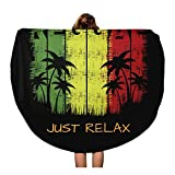 Semtomn 60 Inches Round Beach Towel Blanket Colorful of Reggae Music Slogan Just Relax Graphics Green Travel Circle Circular Towels Mat Tapestry Beach Throw