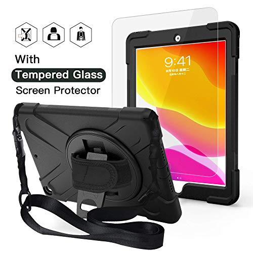 iPad 7th Generation Case, iPad 7 Case, JTcase Full body rugged kids case with 9H Tempered Glass Screen Protector,Hand Strap,Shoulder Strap,Stand for iPad 7th Gen 10.2 inch 2019 A2197 A2198 A2200-Black