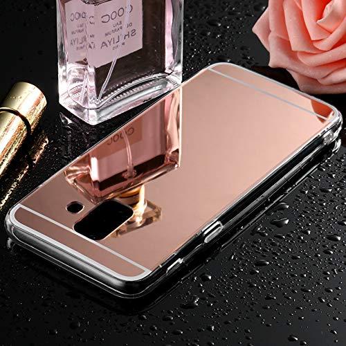 Sycode Coque Galaxy A6 2018,Galaxy A6 2018 Silicone Miroir Housse,Miroir Housse Etui de Protection Coque Coquille pour Samsung Galaxy A6 2018-Rose Or