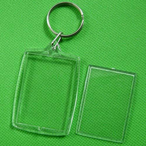 F-blue 10pcs Transparent Blank Insérer Cadre Photo Porte-clés Keychain Porte-clés Porte-clés de Split Cadeau