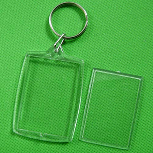Guangcailun 10pcs Transparent Blank Einsatz-Foto-Bilderrahmen-Schlüsselanhänger Split Keychain Geschenk