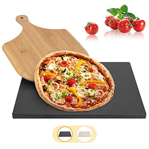 BOMEON Pizzastein für Backofen und Gasgrill,Küchen Zubehör Pizzastein Grill Stein Pizzasschieber- Schamottstein Pizzastein aus Cordierit für Backofen, grillzubehör, Bambus Pizzaschaufel.
