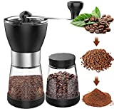Verilux® Coffee Grinder with 2 Glass Jars Ceramic Burr Stainless Steel Handle, Manual Coffee Beans Grinder withfor Aeropress, Drip Coffee, Espresso, French Press