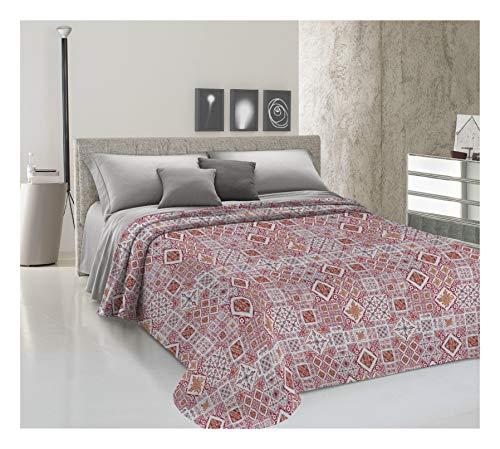 HomeLife Frühlings-Sommer-Tagesdecke aus Piqué [220 x 280], hergestellt in Italien, französisches Bett, Baumwolle, Bleistift, Tagesdecke für französisches Bett, 1,5 P, Rot