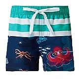 Idgreatim - Bañador para niños (Secado rápido, Impermeable, para Adolescentes, Surf, Playa, Cordones, Cintura elástica con Forro de Malla, 4-14 años) A Octopus 10-14 años