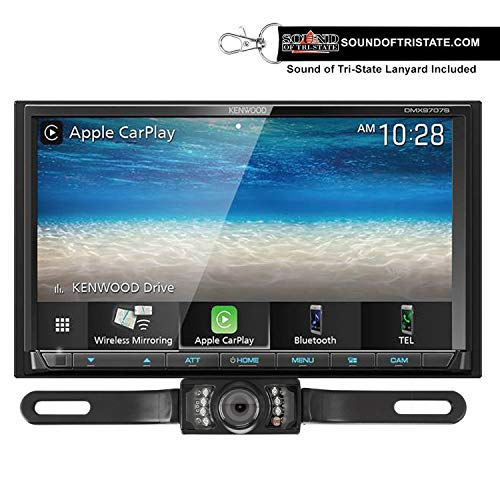 Kenwood DMX9707S Digital Multimedia Receiver + License Plate Backup Camera + Sound of Tri-State Lanyard Bundle