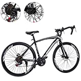 26 Inch Bike Aluminum Full Suspension Road Bikes Mountain Bike Dual Disc Brake, 21 Speed Bicycle, 700c for Men and Women (Black 1)