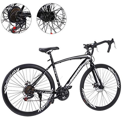 26 Inch Bike Aluminum Full Suspension Road Bikes Mountain Bike Dual Disc Brake, 21 Speed Bicycle, 700c for Men and Women (Black 1)