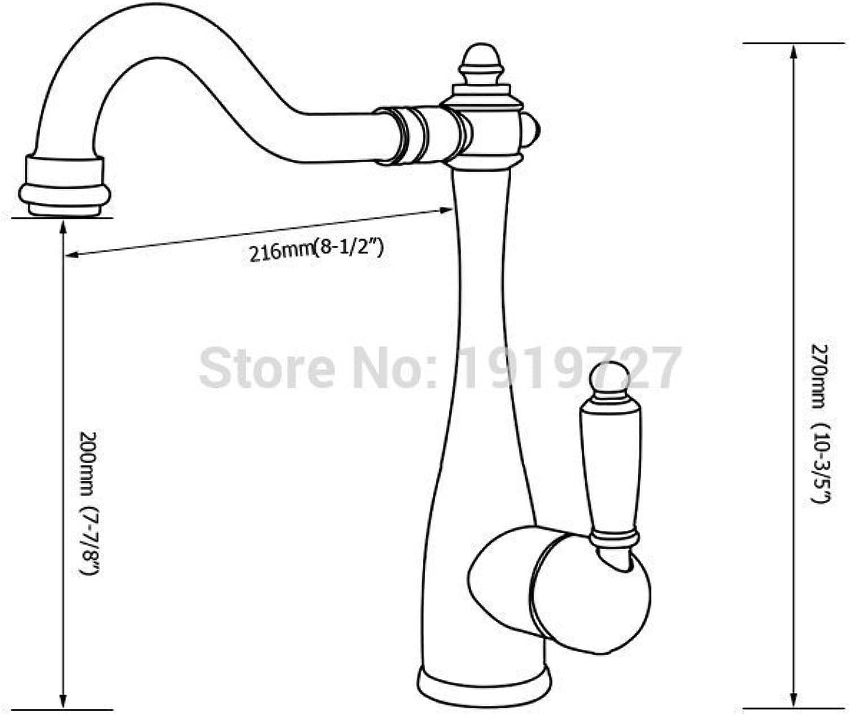 Galvanik Galvanik Retro Retro Wasserhahn Wasserhahn Classic Single Griff mit hohem Bogen Spüle Mischbatterie mit Schwenkhahn Auswurfkrümmer, Rot Kupfer, Klar