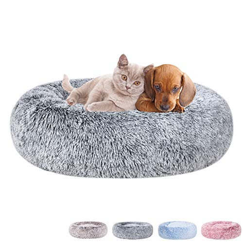 Poohoo Calming Faux Fur Donut Cuddler Dog Bed,Washable Round Cat Bed Pillow Cuddler Gradient Color(23'/30') for Small Medium Dogs(L 30',Grey)