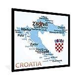 Poster mit Rahmen Zagreb Illustration - Illustration einer