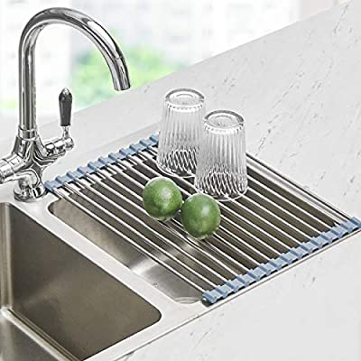 Roll Up Dish Drying Rack, Seropy Over The Sink Dish Drying Rack Kitchen Rolling Dish Drainer, Foldable Sink Rack Mat Stainless Steel Wire Dish Drying Rack for Kitchen Sink Counter (17.8''x11.8'')