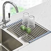 #LightningDeal Roll Up Dish Drying Rack, Seropy Over The Sink Dish Drying Rack Kitchen Rolling Dish Drainer, Foldable Sink Rack Mat Stainless Steel Wire Dish Drying Rack for Kitchen Sink Counter (17.8''x11.8'')
