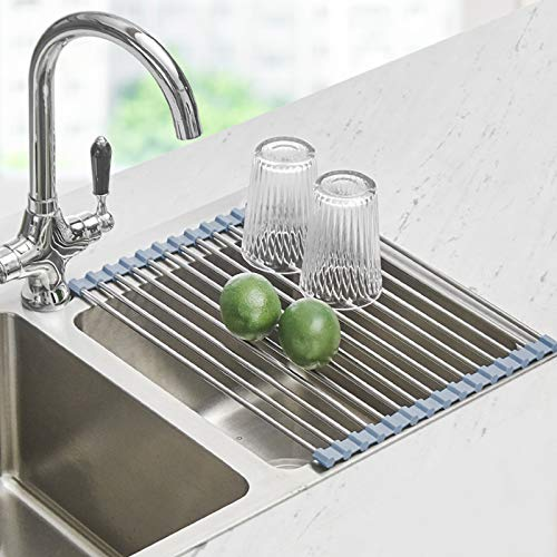 Over the Sink Dish Drying Rack, Seropy Roll Up Dish Drying Rack Kitchen Rolling Dish Drainer, Foldable Sink Rack Mat Stainless Steel Wire Dish Drying Rack for Kitchen Sink Counter (17.8''x11.2'')