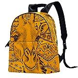 Mochila de piel para la escuela, universidad, viajes, oficina, portátil, para mujeres y hombres, dibujado a mano con ciervos en étnica africana