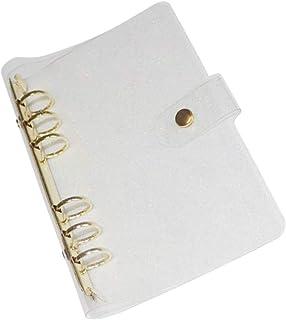 A6 6-Ring Glitter PVC Binder Planner Cover Gold Rings Loose Leaf Notebook Binder Refillable Planner Journal Protector Shel...