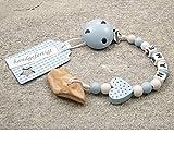 kleinerStorch Veilchenwurzel an Schnullerkette mit Namen - natürliche Zahnungshilfe Beißring für Babys - Schnullerhalter mit Wunschnamen - Jungen Motiv Herz in blau