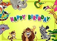 HDSafariテーマの写真の背景の誕生日7x5ftハッピーバースデーバナー男の子の誕生日パーティーに最適な背景HXVV054