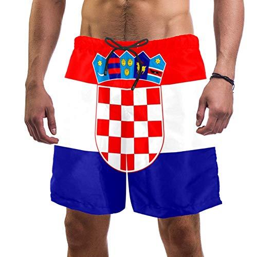 Lorvies Herren Badeshorts mit Kroatien Flagge, schnelltrocknend, Größe L Gr. XXL, multi
