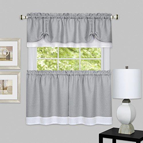 "Achim Home Furnishings, Grey/White chim Home Furnishings DRTV24GW12 Darcy Window Curtain Tier Pair & Valance Set, 58"" x 24"" with 14"" Valance, Pair"