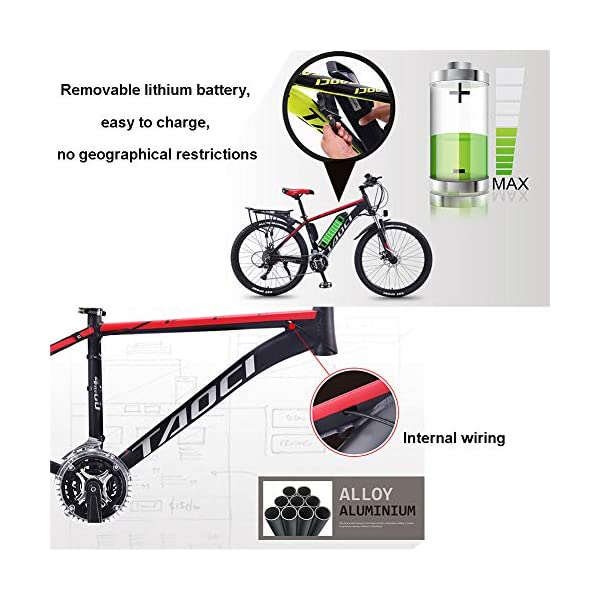 Electric Bikes Hyuhome Electric Bikes for Adult, Magnesium Alloy Ebikes Bicycles All Terrain,26″ 36V 350W 13Ah Removable Lithium-Ion Battery Mountain Ebike for Mens