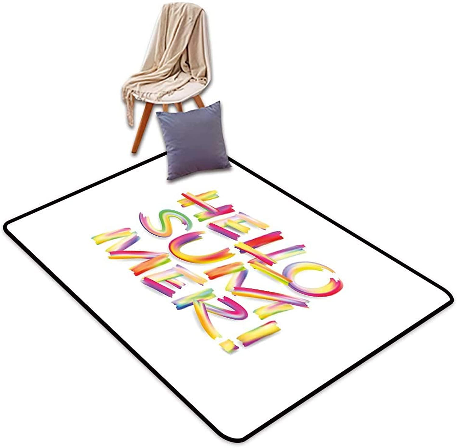Entrance Door mat Hello Summer Typographic Abstract Illustration of Modernized Fonts in Vivid Rainbow colors W5'xL8' Suitable for Family