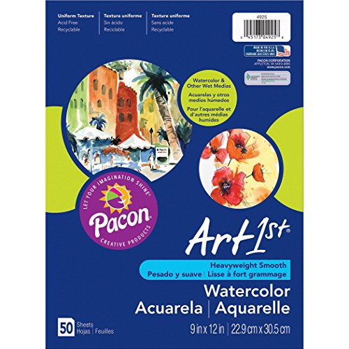 Art1st PAC4925BN Watercolor Paper, Package, 9' x 12', 50 Sheets Per Pack, 3 Packs