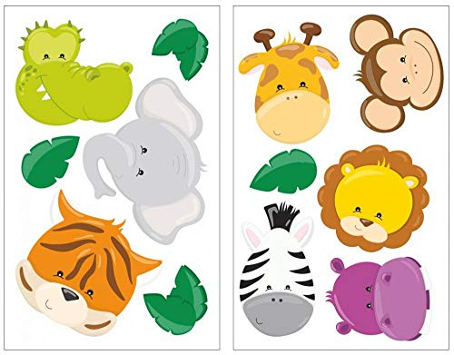Samunshi® 12-teiliges Dschungeltier Gesichter Wandtattoo Set Löwe Giraffe AFFE Kinderzimmer Babyzimmer in 5 Größen (2x16x26cm Mehrfarbig)