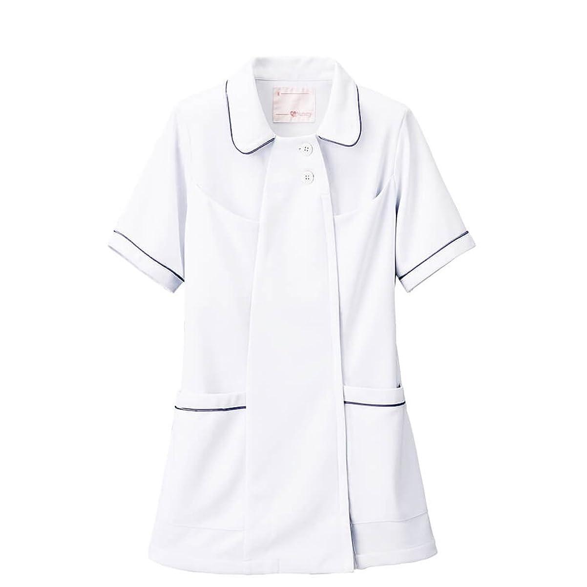 いわゆる深遠慣習ナースリー オープンカラーパイピングジャケット/透けにくい/ストレッチ/医療/看護/白衣/レディース LL ホワイト×ネイビー 769403