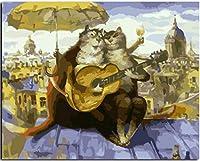 WEIFENGX油絵 数字キットによる絵画 塗り絵 大人 手塗り DIY絵 デジタル油絵 フレームレス 40x50cm - ギターを弾く2匹の猫