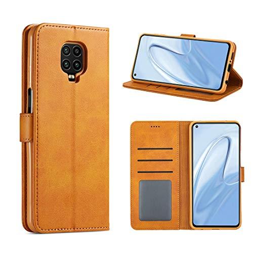 CRESEE Redmi Note 9S / Redmi Note 9 Pro Hülle, PU Leder Handyhülle mit 3 Kartenfächer, Schutzhülle Hülle Tasche Magnetverschluss Flip Cover Stoßfest für Xiaomi Redmi Note 9S/ 9 Pro (Gelb)