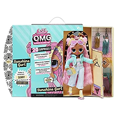 LOL Surprise OMG Sunshine Gurl Fashion Doll – Dress Up Doll Set with 20 Surprises for Girls and Kids 4+