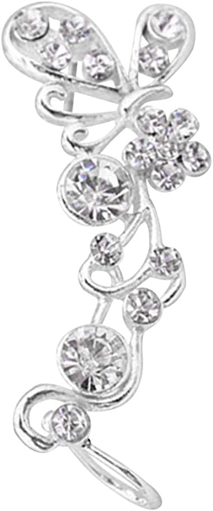 Fashion Ear Jewelry For Girls Women,1Pc Sweet Women Rhinestone Inlaid Butterfly Right Ear Cuff Stud Earrings Jewelry - Golden Ear Clip