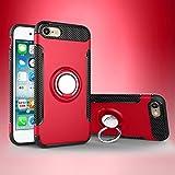 YHUISEN iPhone 6 Plus/6S Plus case, Armor Dual Layer 2 in 1 Heavy Duty protezione antiurto caso con 360 gradi girevole portaimpronte e portachiavi magnete custodia per iPhone 6 Plus/6S Plus ( Color : Red )