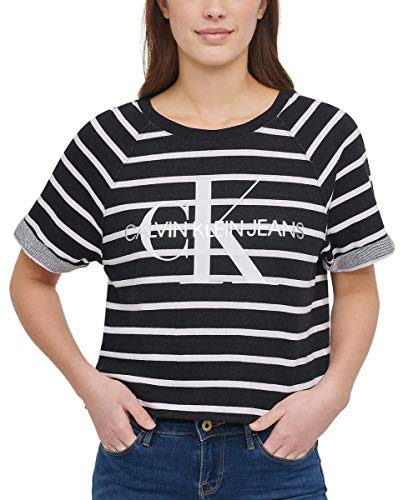 Calvin Klein Jeans Womens French Terry Logo Crop Top (Black Combo, XX-Large)