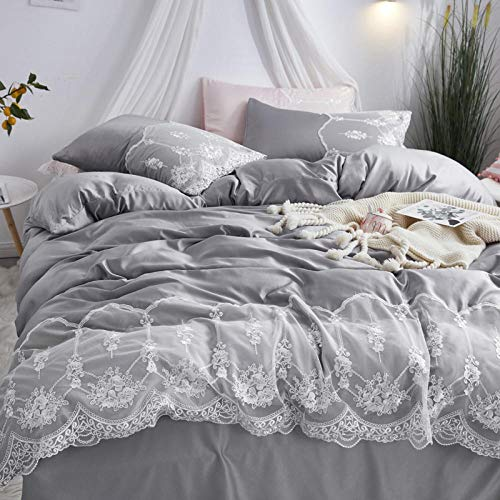 Duvet Sets Double,Washed silk four-piece summer bedding princess style summer cool ice silk sheets quilt cover silky naked sleep-Silver_2.2m (7 feet) bed