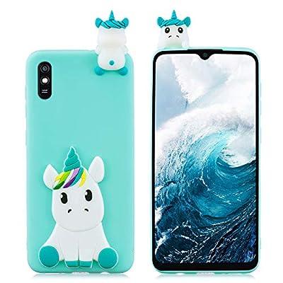 HopMore Funda para Xiaomi Redmi 9A Silicona Blando Divertidas Animal Carcasa Redmi 9A Dibujo 3D TPU Ultrafina Slim Case Antigolpes Caso Protección Cover Gracioso - Unicornio Verde