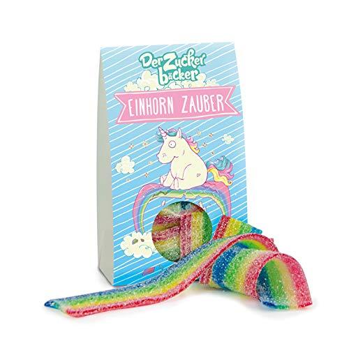 Einhorn Zauber, Farbige Fruchtgummi-Regenbogen-Bänder, süße Geschenk-Idee für Freunde